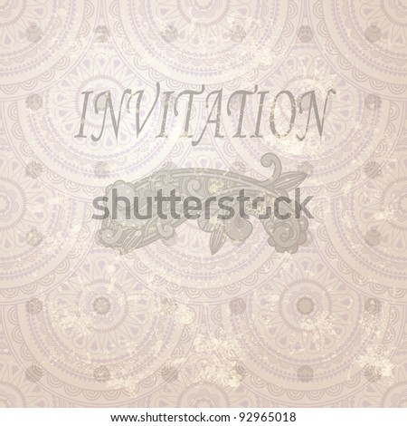 eps 10, vector vintage invitation with paisley element and seamless eastern  pattern - stock vector