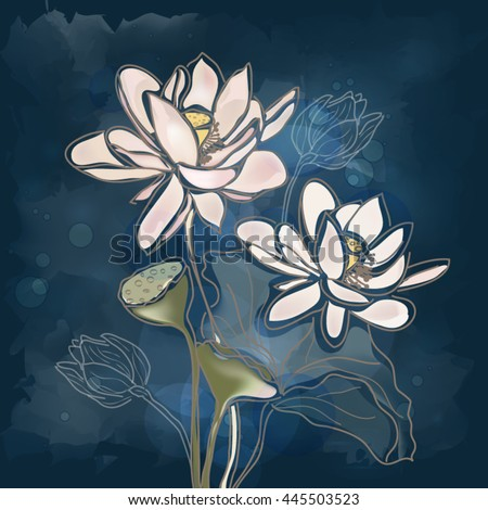 Eps10 vector - Water lilies on a blue background - stock vector