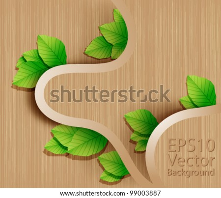 Eps10 Vector Wood with Leaves Modern Background Design - stock vector