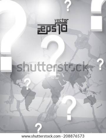 eps10 vector world map and question mark on crack background - stock vector