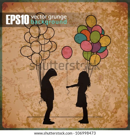EPS10 vintage background with Boy and girl with balloons - stock vector