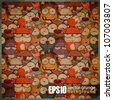 EPS10 vintage background with cartoon animals - stock vector