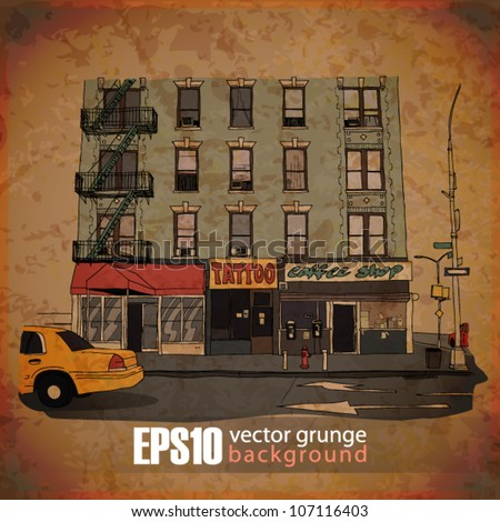 EPS10 vintage background with cityscape - stock vector