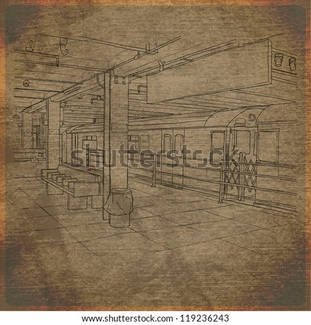 EPS10 vintage background with subway station - stock vector
