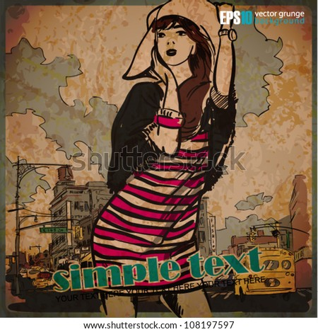 EPS10 vintage illustration with beautiful fashion girl - stock vector