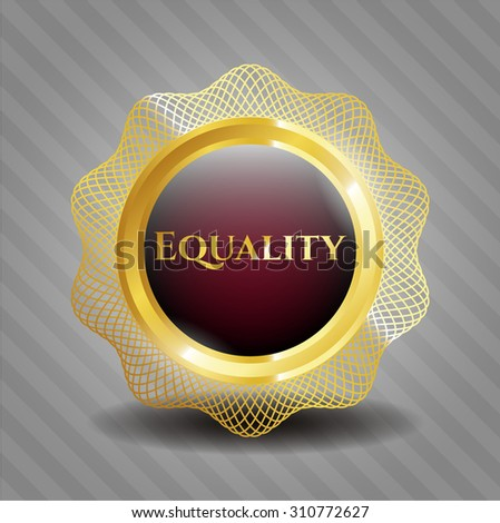 Equality gold badge - stock vector
