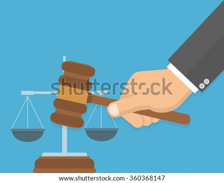 Equality in front of the law or fair decision concept. Hand holding judges`s gavel with a justice balance in the background. Flat design - stock vector