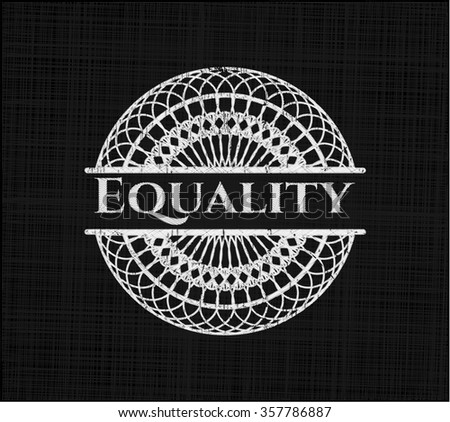 Equality written with chalkboard texture - stock vector