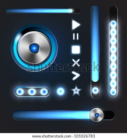 Equalizer and player glossy metal buttons with track bar. Set of vector media elements. - stock vector