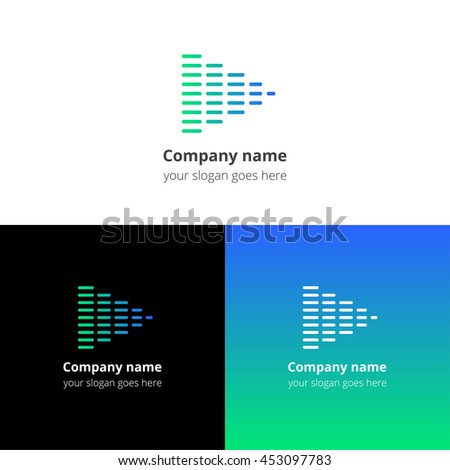 Equalizer beat into play music sound icon, flat logo vector template. Abstract symbol and button with blue-green gradient for music service or company. - stock vector