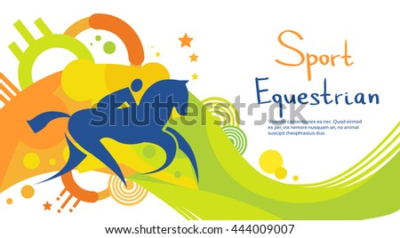 Equestrian Athlete Horse Sport Game Competition Flat Vector Illustration - stock vector