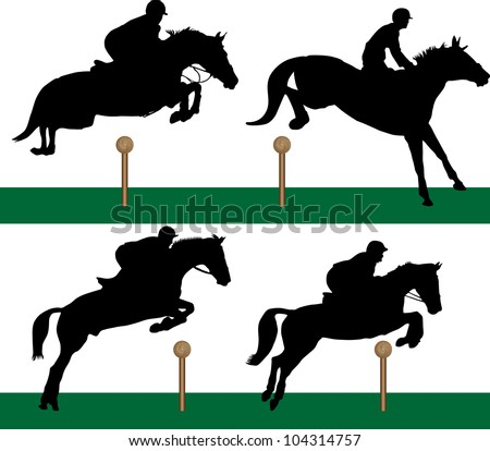 Equestrian - Jumping - stock vector
