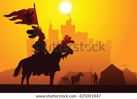 Equestrian knight with the castle on the background - stock vector