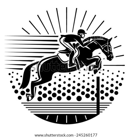 Equestrian sport. Vector illustration in the engraving style - stock vector