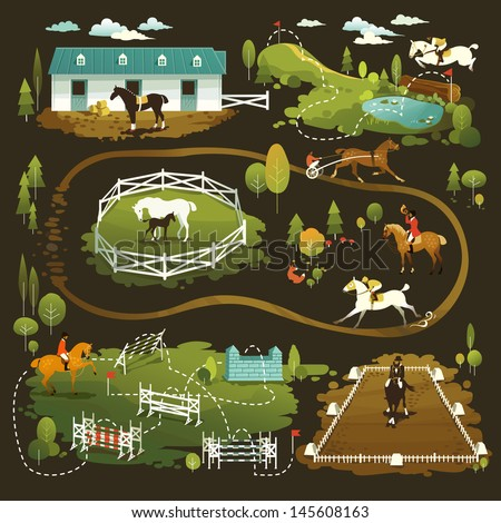 Equestrian vector illustrations of horse life, farming, racing, dressage, eventing and jumping show - stock vector