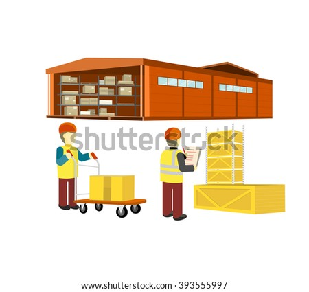 Equipment delivery process of the warehouse. Warehouse interior, logisti and factory building exterior, business delivery, storage cargo vector illustration. Workers in the warehouse with a cart - stock vector