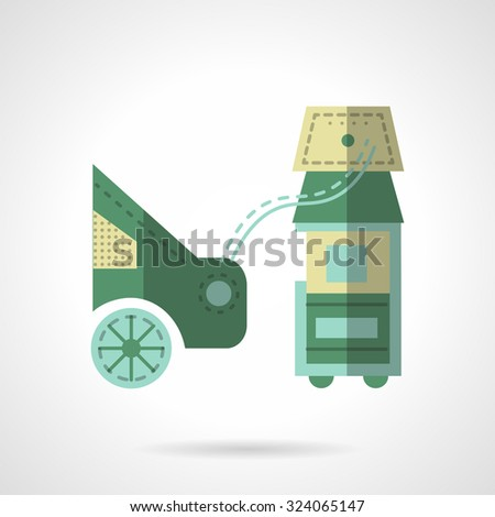 Equipment for measuring and control automobile emission. Green flat color style vector icon. Car services. Elements of web design for business. - stock vector