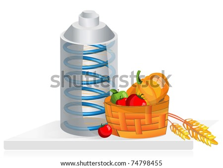 Equipment for the storage of products, can and vegetables in cart - stock vector