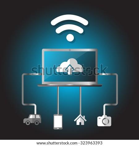 Equipment, Internet, wi-fi, upload, icon, notebook,  vector illustrator - stock vector