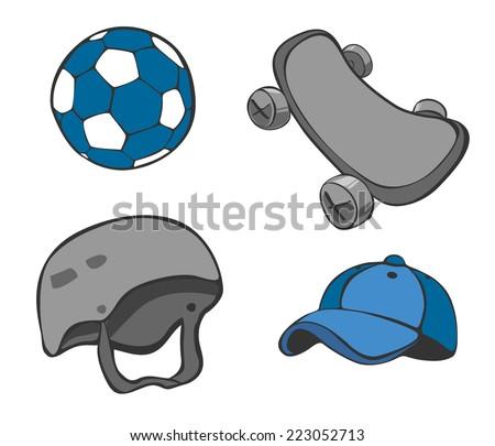 Equipment set, sketch of skateboard, helmet, cap, ball in vector illustration. - stock vector