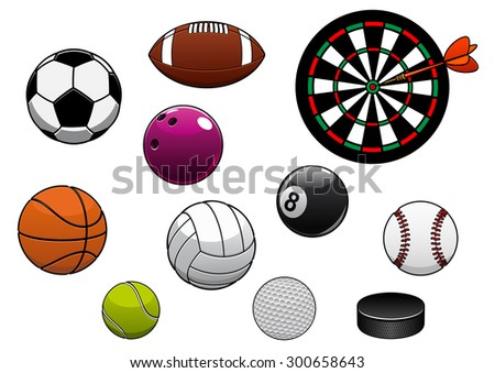 Equipments and sport items with dartboard, hockey puck and football or soccer, rugby, basketball, volleyball, tennis, golf, baseball, billiards and bowling balls - stock vector