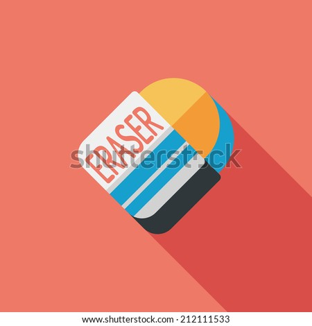 Eraser flat icon with long shadow,eps10 - stock vector
