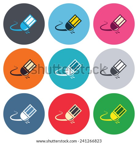 Eraser icon. Erase pencil line symbol. Correct or Edit drawing sign. Colored round buttons. Flat design circle icons set. Vector - stock vector