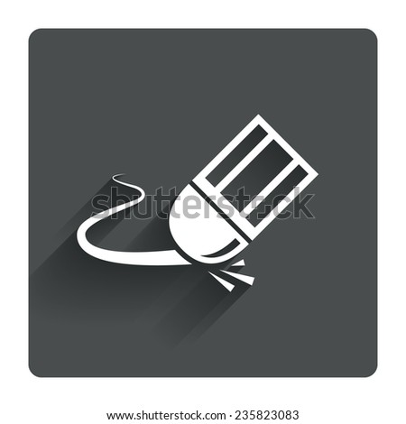 Eraser icon. Erase pencil line symbol. Correct or Edit drawing sign. Gray flat square button with shadow. Modern UI website navigation. Vector - stock vector