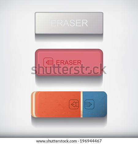 Eraser set isolated on white  background.    Vector illustration.  - stock vector