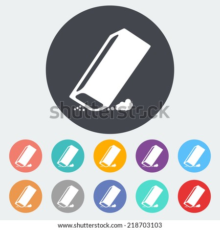 Eraser. Single flat icon on the circle. Vector illustration. - stock vector
