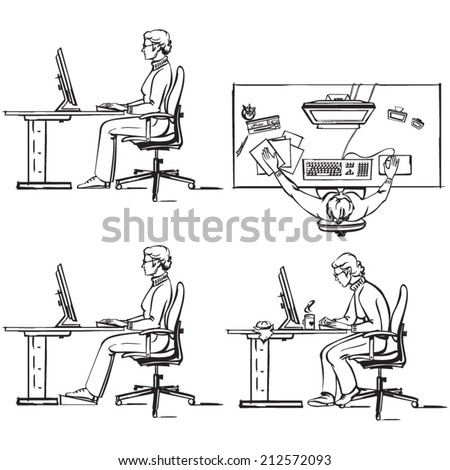Ergonomic of a computer workplace 1 - stock vector