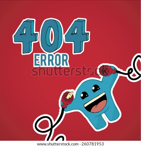 Error 404,happy monster  with plug and pin on red color background - stock vector