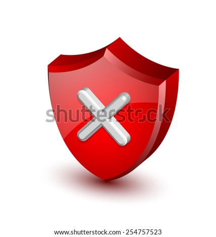 Error notification shield icon suitable for custom web design and computer purposes - stock vector