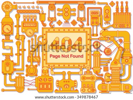Error 404 Page not found steampunk style frame. Industrial border, which is powered by steam with electricity include machines chains gears and mechanism elements - stock vector