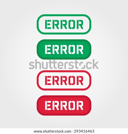 ERROR Red and Green Stamp vector over a white background. - stock vector
