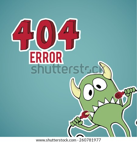 Error 404, sad monster offset with disconnected cables on blue color background - stock vector