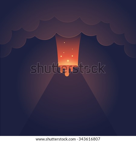 Erupting volcano illustration. Spectacular night eruption with dark clouds and streaming lava. Modern flat vector style.  - stock vector