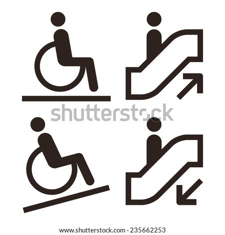 Escalator and facilities for disabled symbols isolated on white background - stock vector