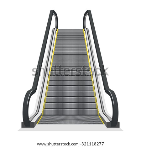 Escalator isolated on white background. Modern architecture stair, lift and elevator, vector illustration - stock vector