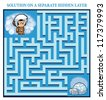 Eskimo boy's Maze Game (help the lost eskimo boy find the right way home to his igloo - Maze puzzle with solution) - stock vector