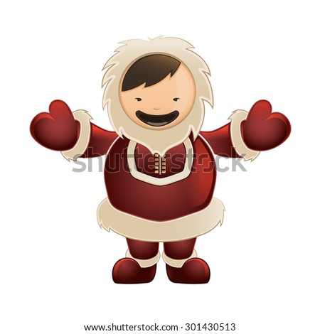 Eskimo in red clothes. Funny character with big smile. Color vector picture isolate on white background - stock vector