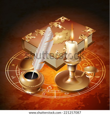 Esoteric design elements with a book, candle and inkwell with a pen. Vector illustration - stock vector