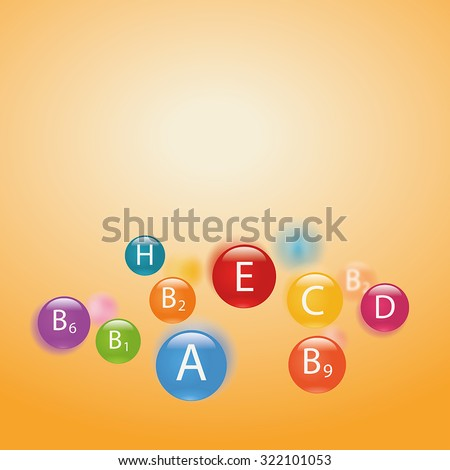 Essential vitamins necessary for human health. Abstract colorful illustration. Blurry yellow background. - stock vector