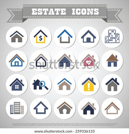 Estate home icon set color design - stock vector
