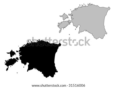 Estonia map. Black and white. Mercator projection. - stock vector
