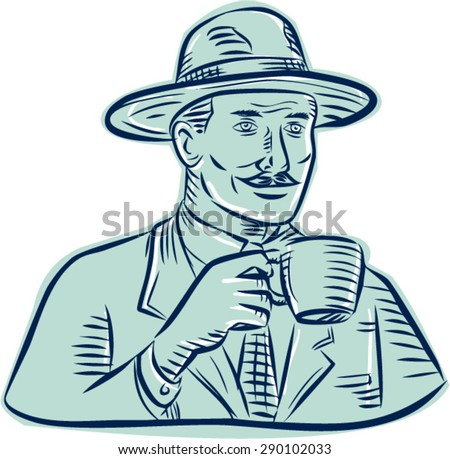 Etching engraving handmade style illustration of a man wearing vintage fedora hat holding coffee mug drinking coffee set on isolated white background. - stock vector
