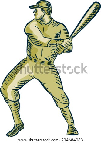 Etching engraving handmade style illustration of an american baseball player batter hitter holding bat batting viewed side on set on isolated white background.  - stock vector