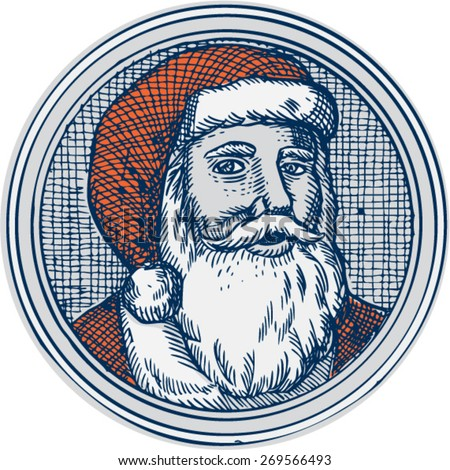 Etching engraving handmade style illustration of santa claus saint nicholas father christmas facing front vintage style set inside circle.  - stock vector