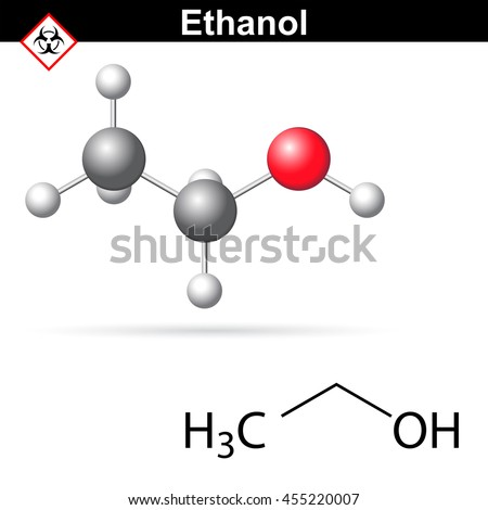 Ethanoll molecule - structural chemical formula and model, 2d and 3d vector illustration, isolated on white background, eps 8 - stock vector