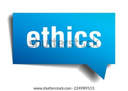 ethics blue 3d realistic paper speech bubble - stock vector